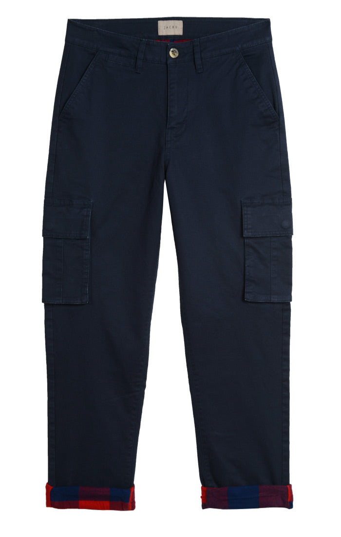 Navy Straight Fit Stretch Flannel Lined Cargo - jachs