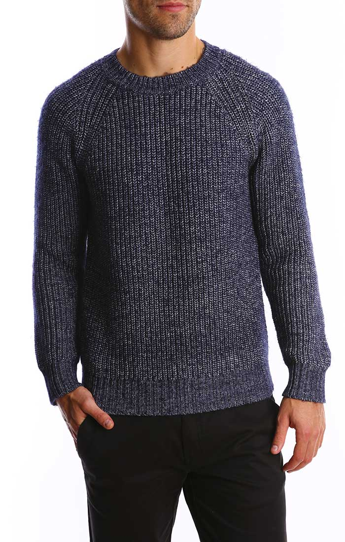 Blue and White Marled Ribbed Crewneck Sweater - jachs