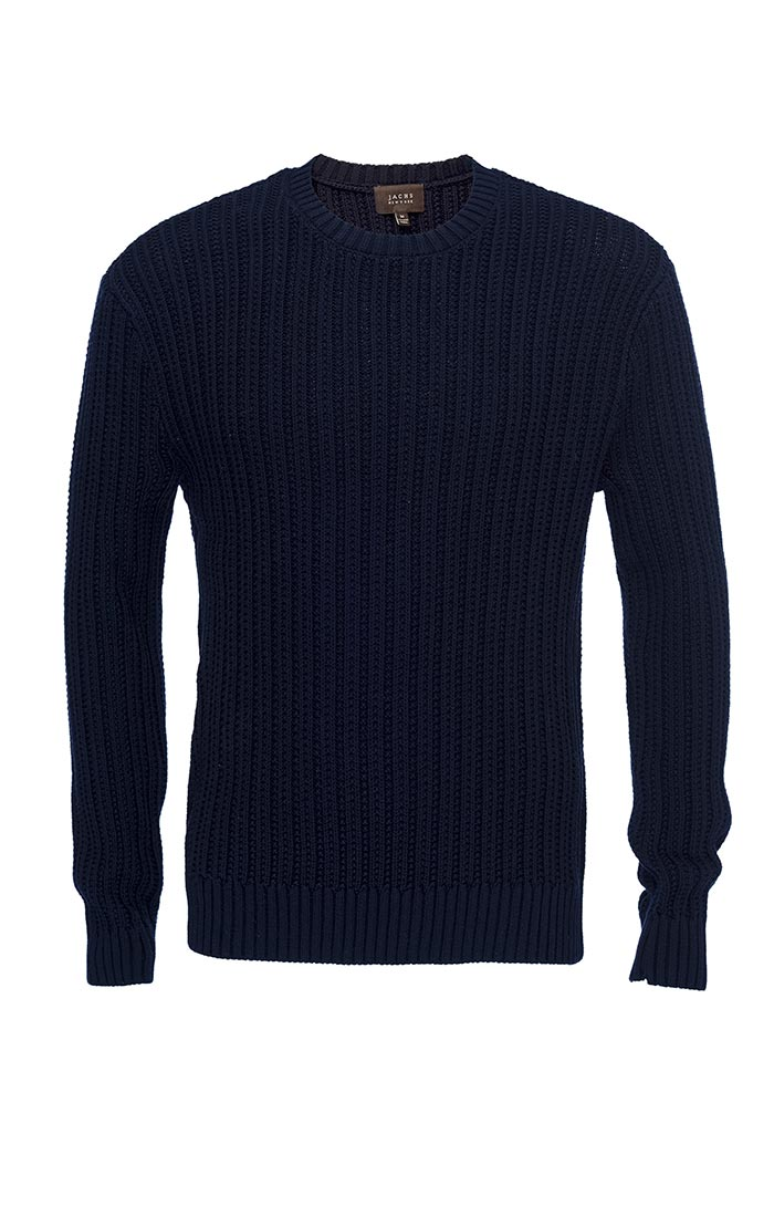 Navy Ribbed Crewneck Sweater