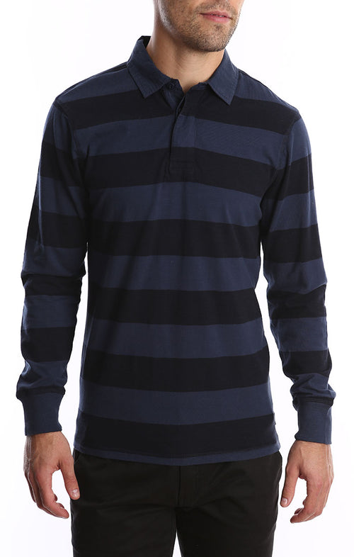 Navy Long Sleeve Stretch Rugby Polo