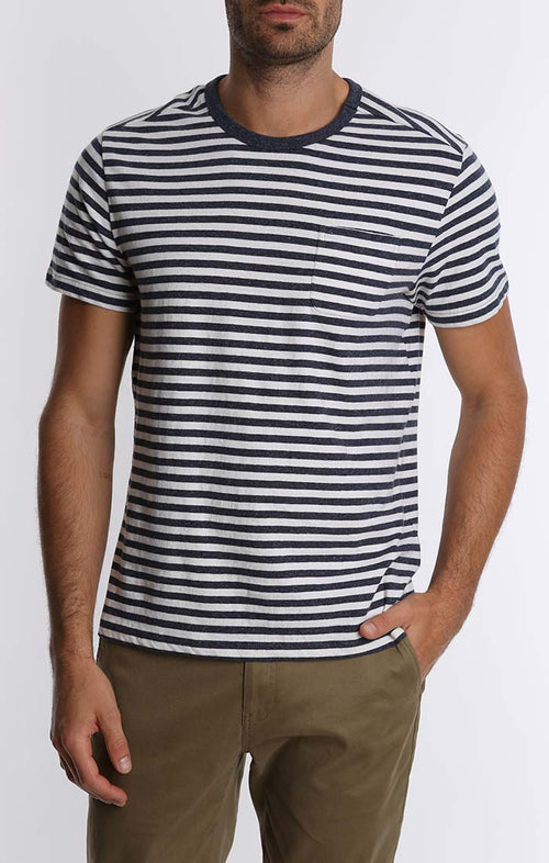 Navy Stripe Cotton Linen Pocket Tee
