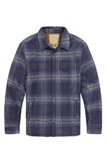 Indigo Sherpa Lined Flannel Shirt Jacket