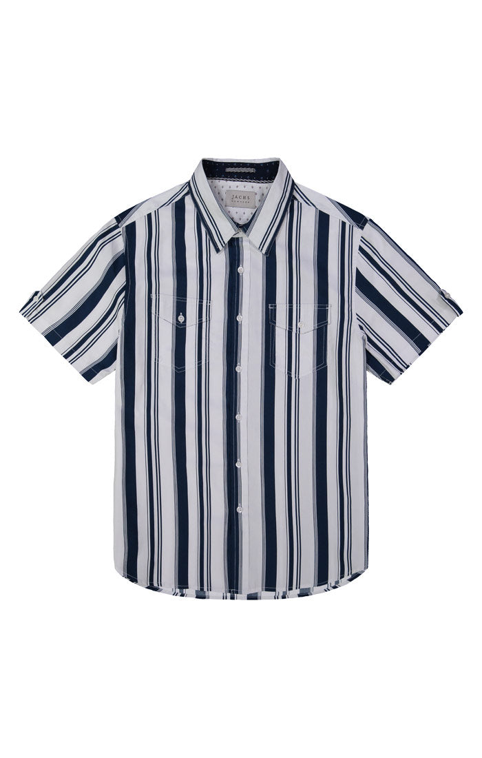 Navy and White Stripe Short Sleeve Shirt