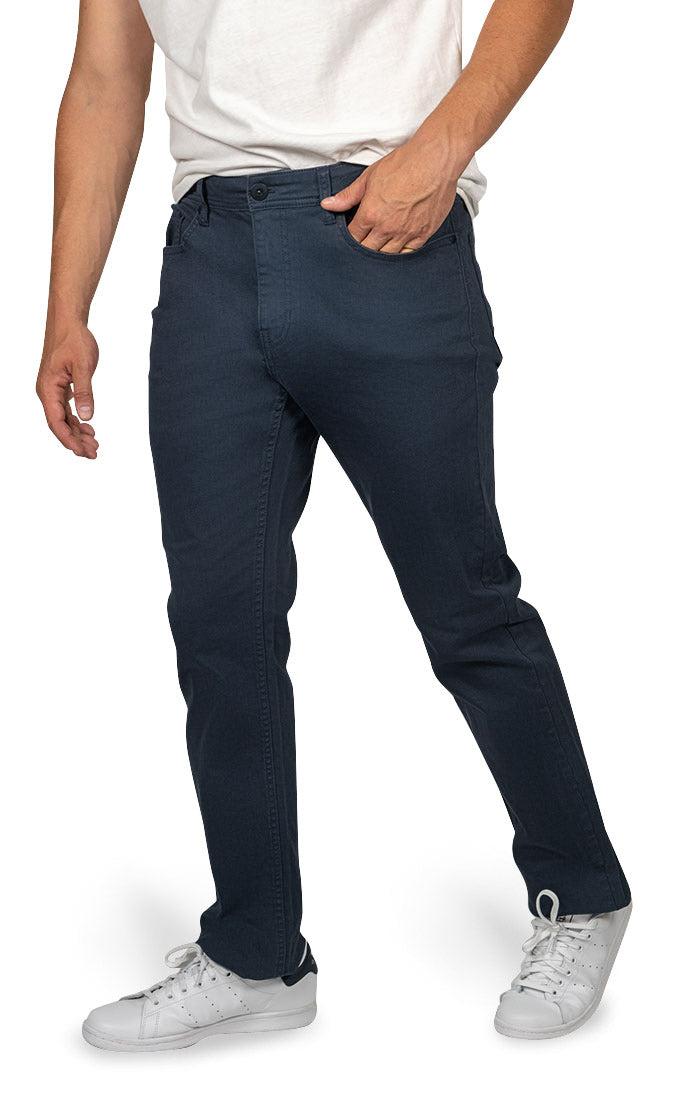 Navy Straight Fit Stretch Twill Pant - JACHS NY
