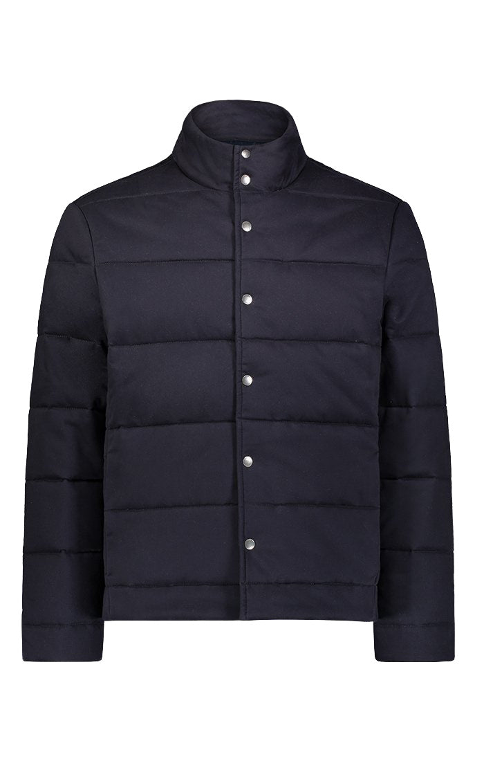 Navy Stretch Sateen Quilted Puffer Jacket - JACHS NY
