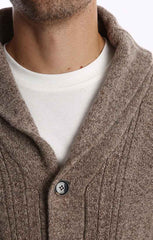 Brown Merino Wool Fisherman Cardigan - jachs