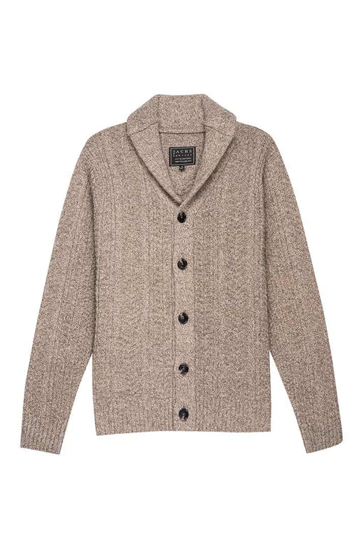 Brown Merino Wool Fisherman Cardigan