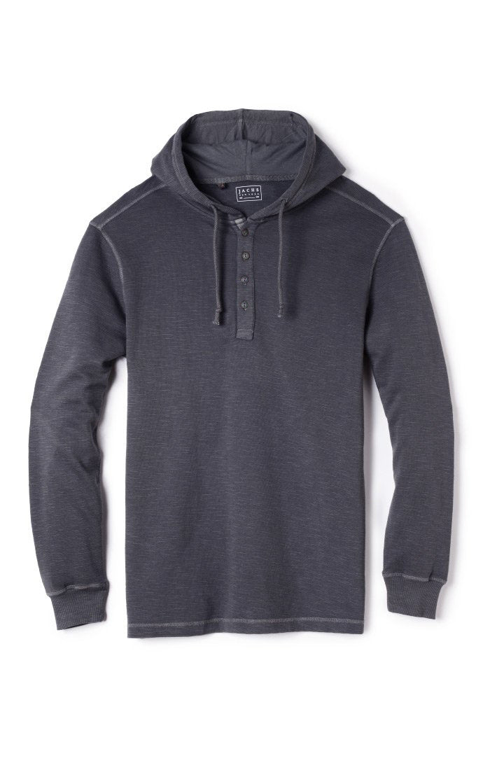 Odyssey Grey Slub Cotton Hooded Henley - jachs