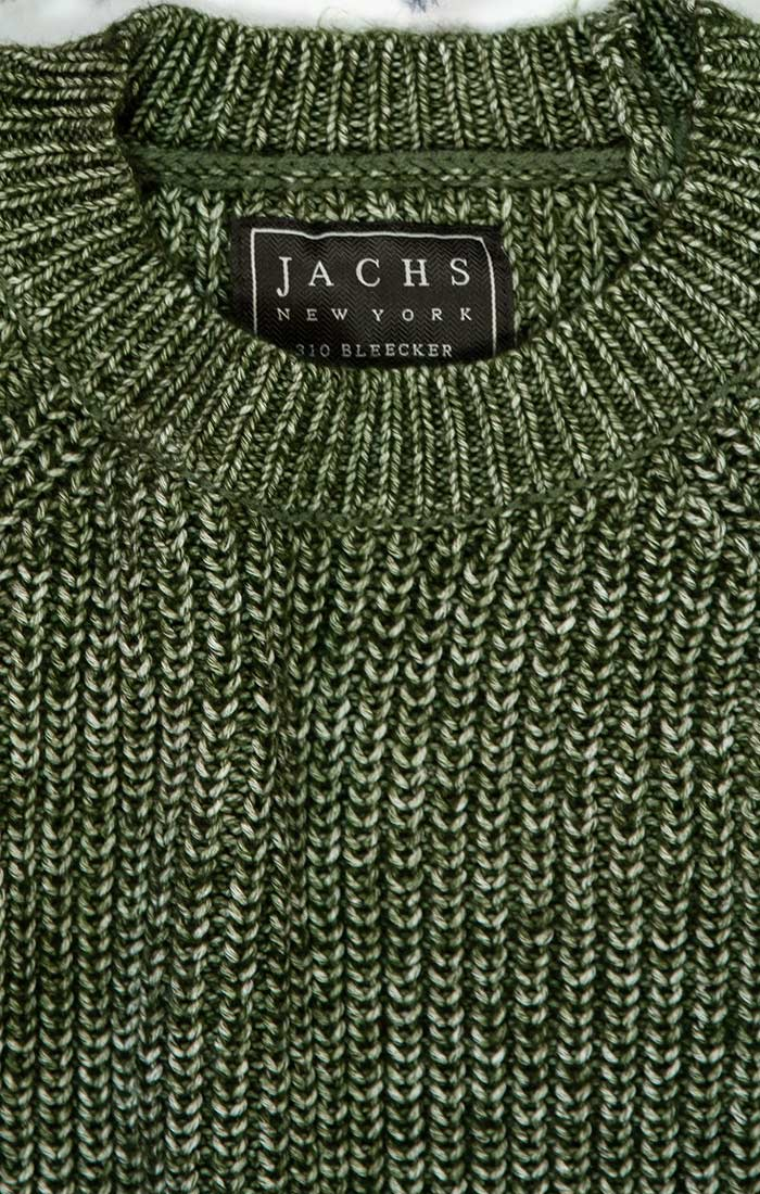 Olive Marled Ribbed Crewneck Sweater - jachs