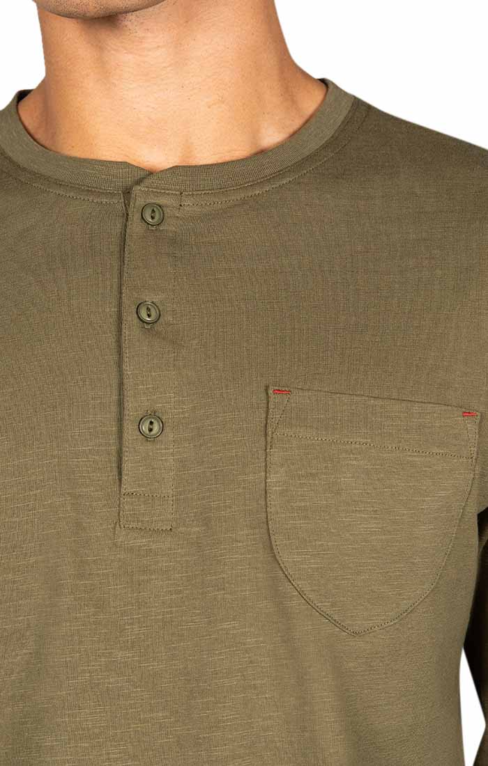 Olive Slub Cotton Long Sleeve Henley