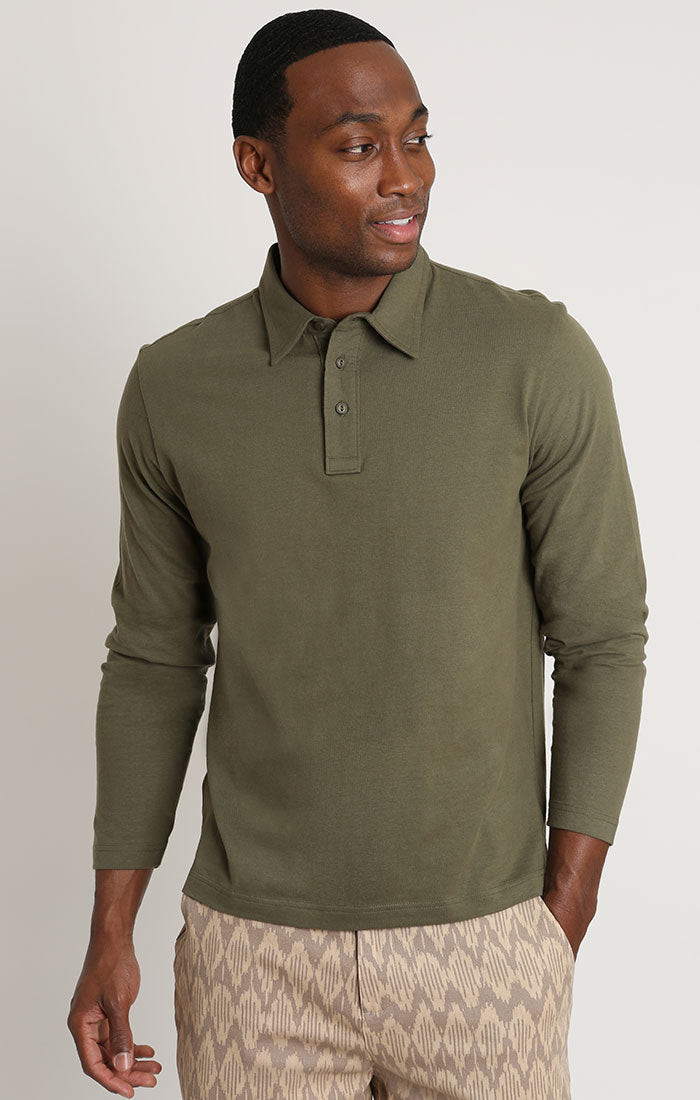 Olive Sueded Cotton Long Sleeve Polo - JACHS NY