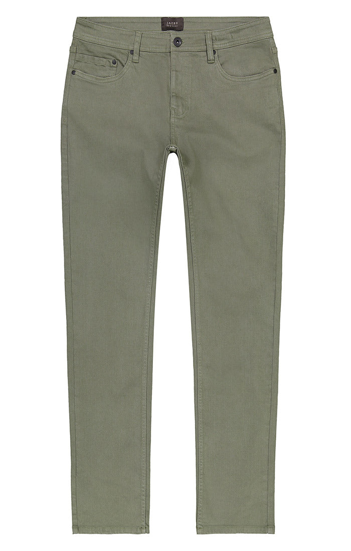 Olive Straight Fit Stretch Twill Pant - jachs