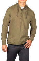 Olive Sueded Cotton Hooded Henley