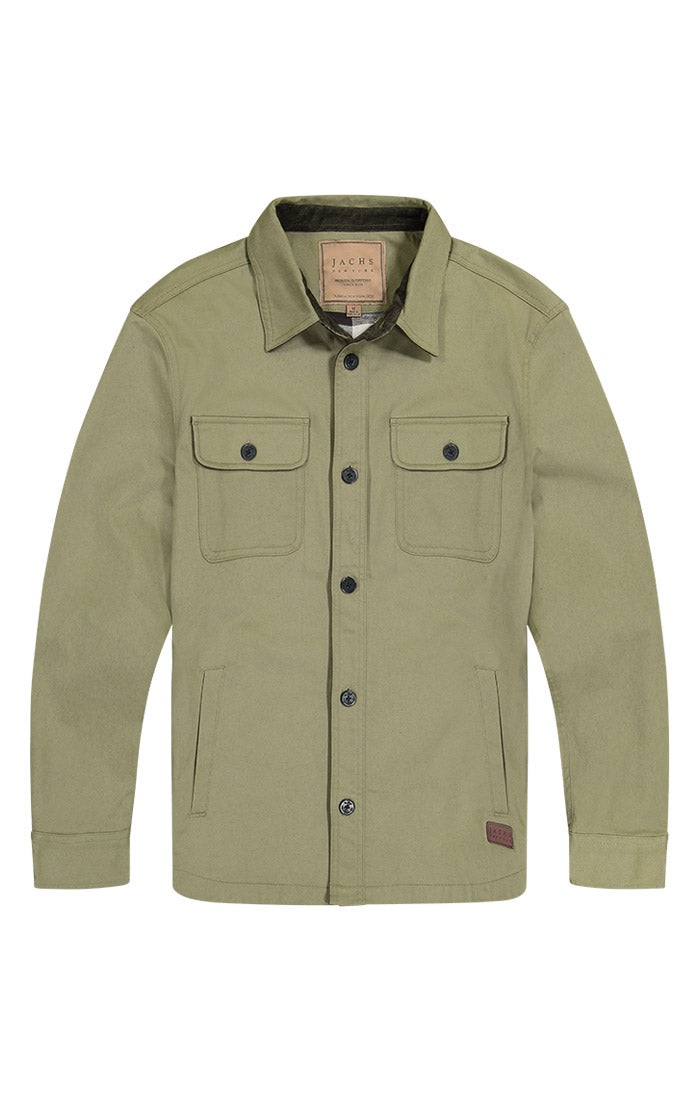 Olive Stretch Flannel Lined Shirt Jacket