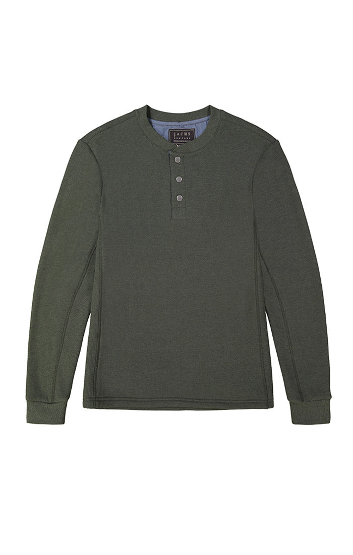 Olive Waffle Sherpa Lined Henley - JACHS NY