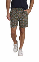 Olive Printed Stretch Twill Pull On Dock Short - jachs