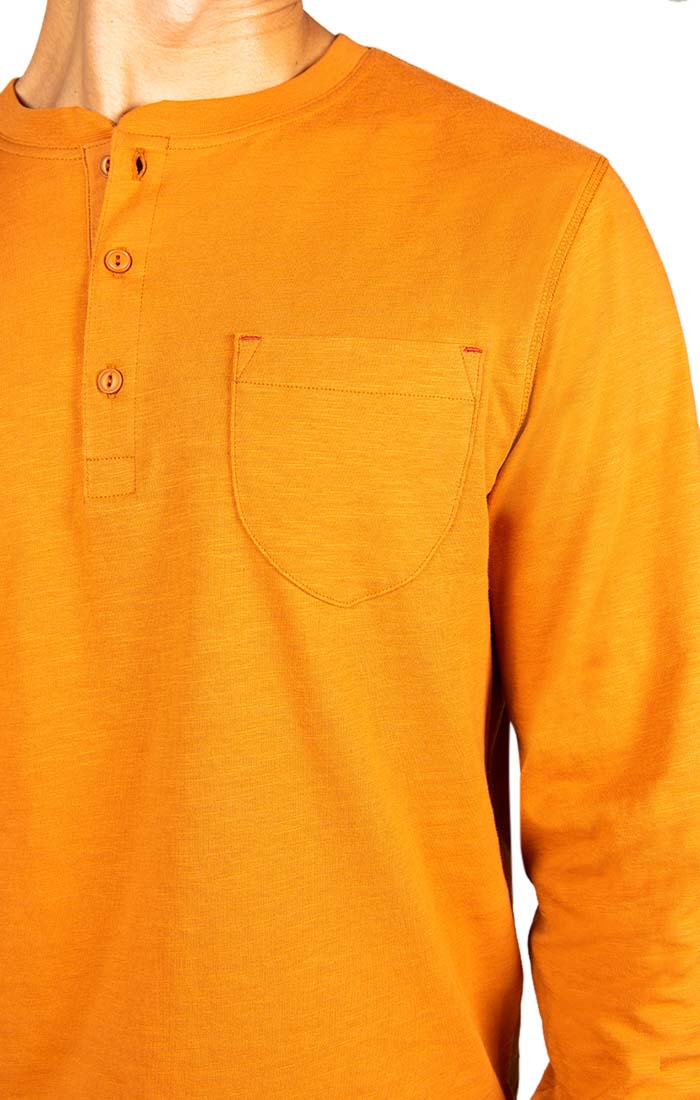 Glazed Ginger Slub Cotton Long Sleeve Henley - JACHS NY