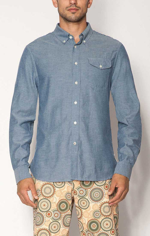 Blue Washed Light Oxford Shirt - jachs