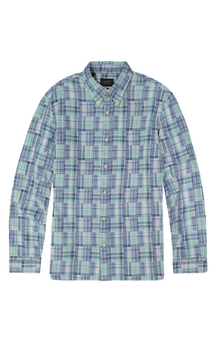 Teal Patchwork Madras Shirt - jachs