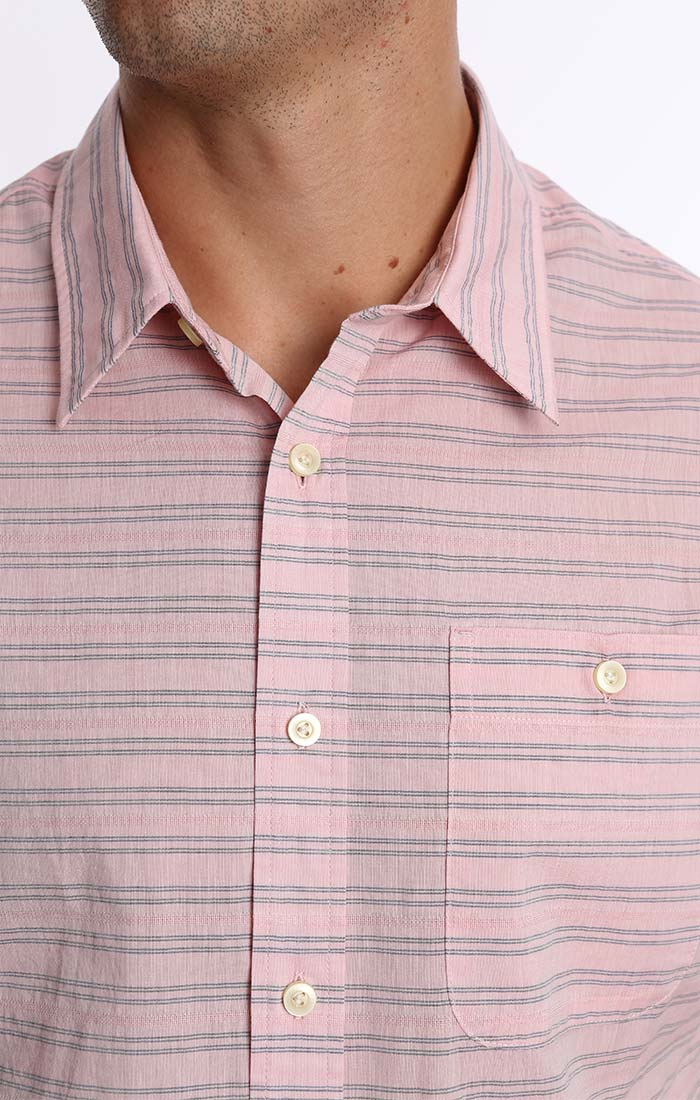 Pink Stripe Dobby Short Sleeve Shirt - jachs