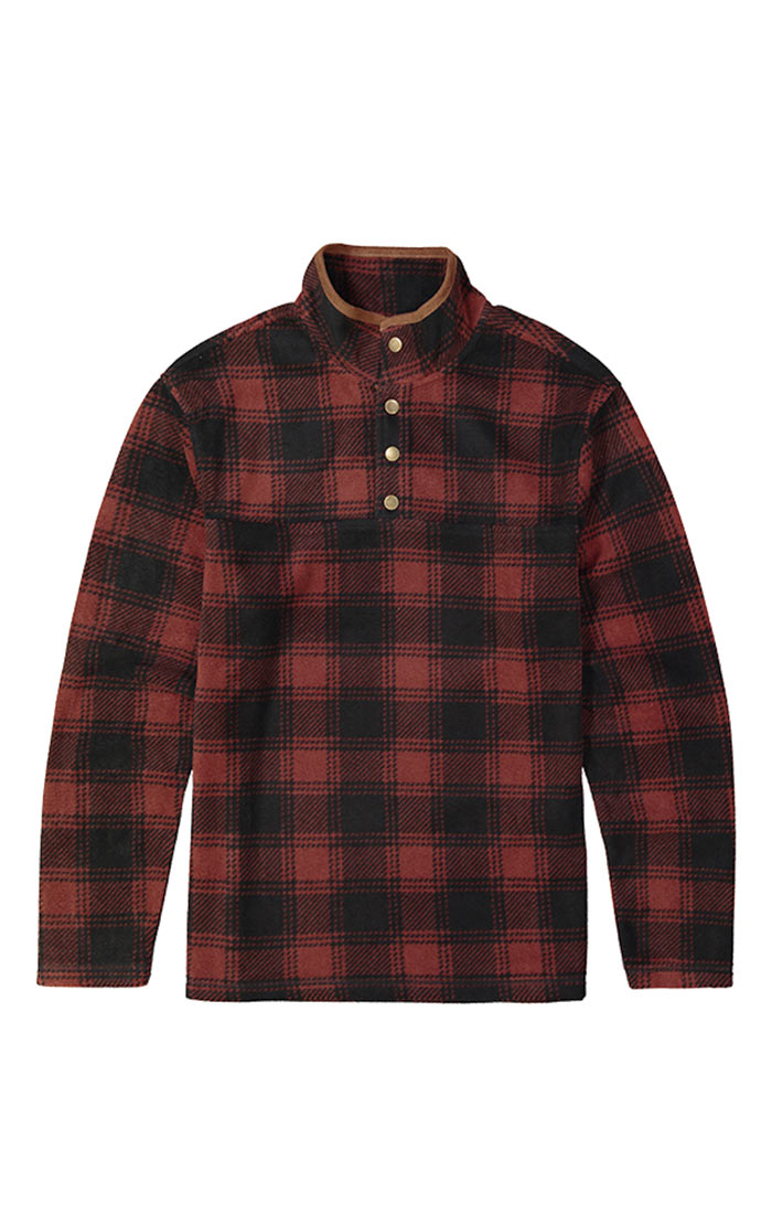 Red Plaid Fleece Mock Neck Pullover - jachs