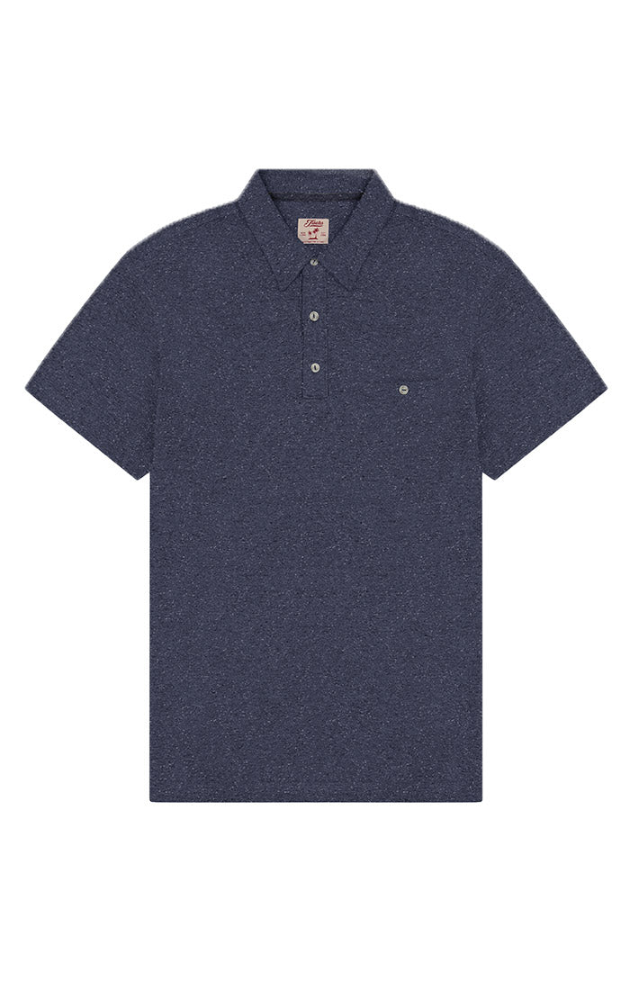 Navy Cotton Linen Polo - jachs