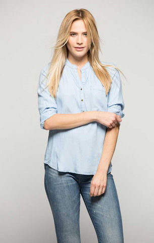 Blocked Two Pocket Button Down - Aqua