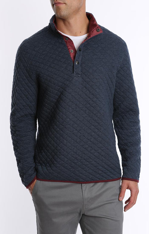 Quilted Mock Neck Pullover - jachs