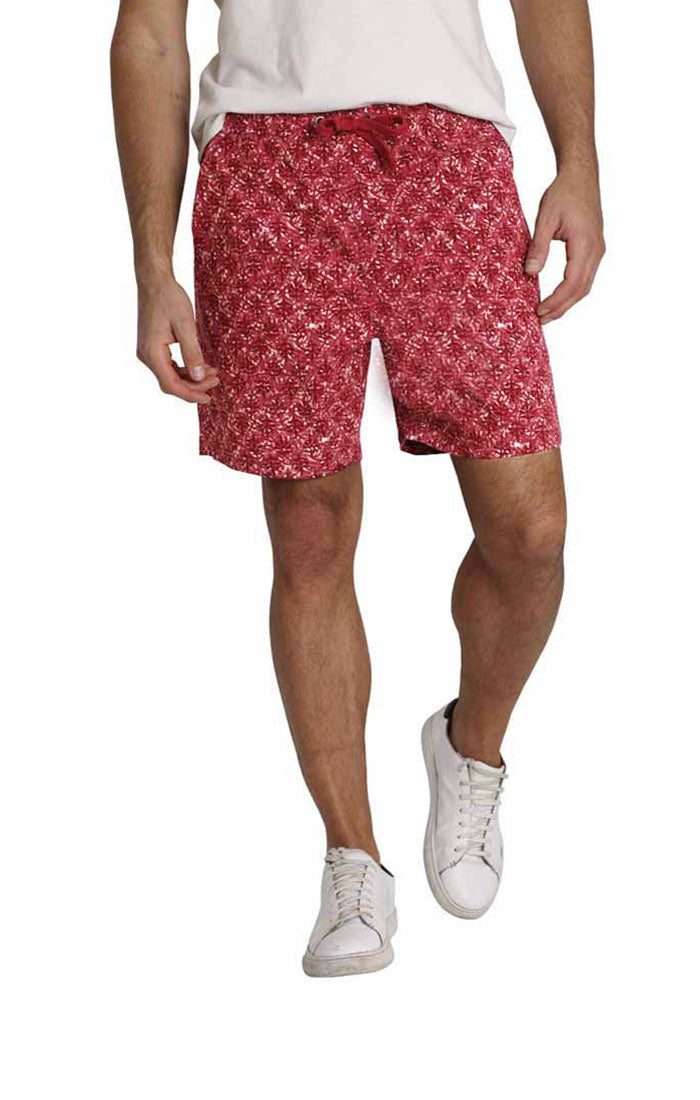 Red Printed Stretch Twill Pull On Dock Short - jachs