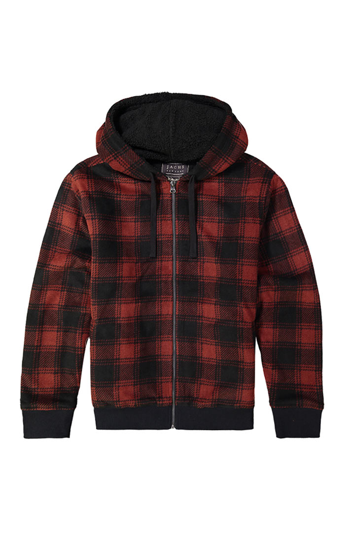 Red Buffalo Plaid Sherpa Lined Fleece Hoodie - jachs