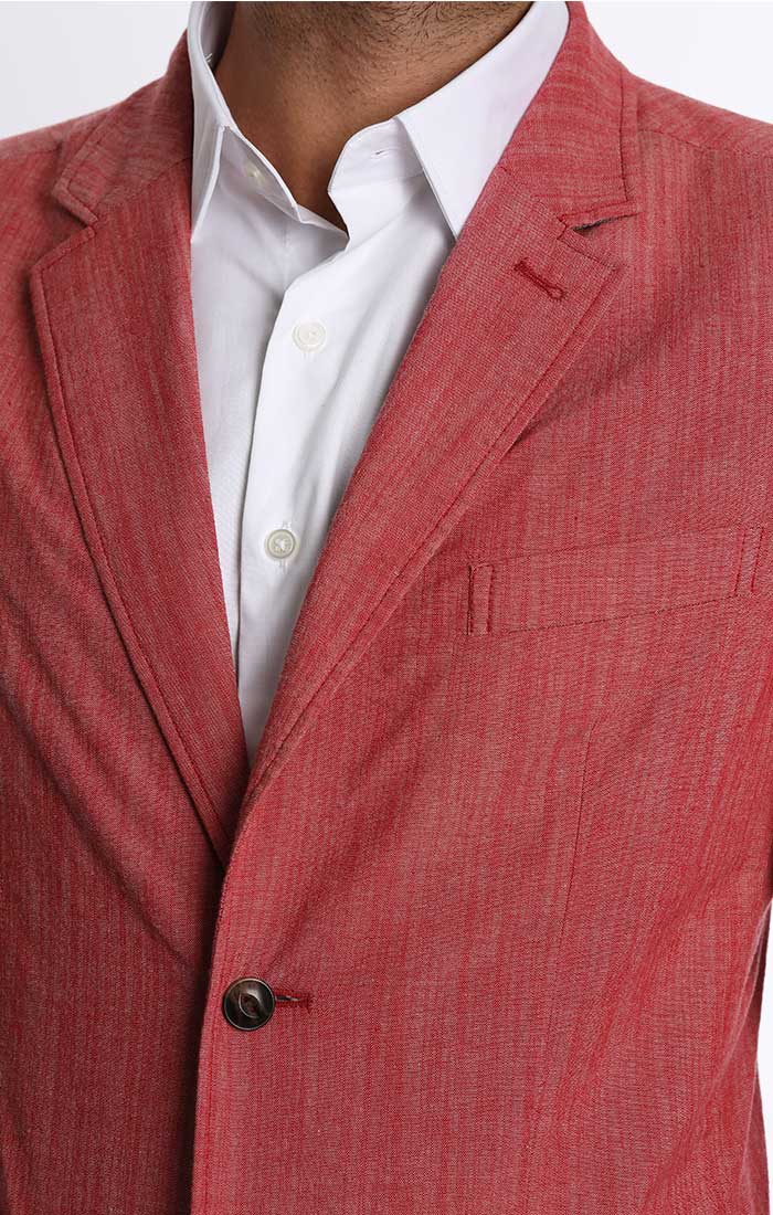 Red Stretch Chambray Blazer - jachs