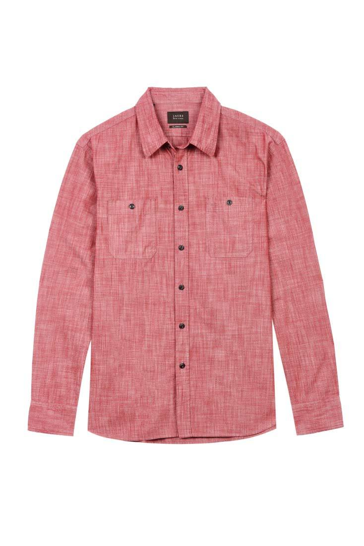Red Slub Chambray Shirt - jachs