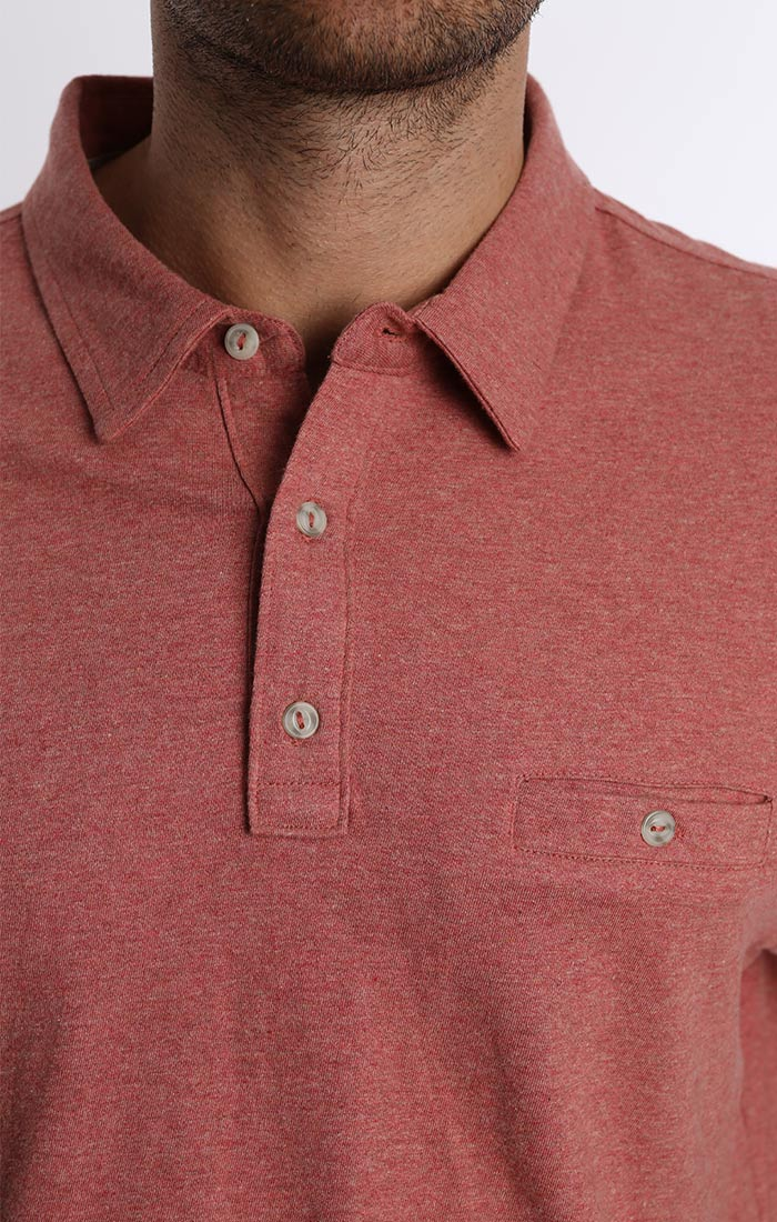 Red Cotton Linen Polo