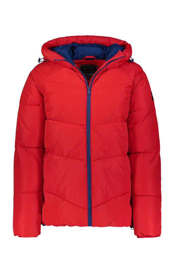 Red Quilted Hooded Puffer Jacket