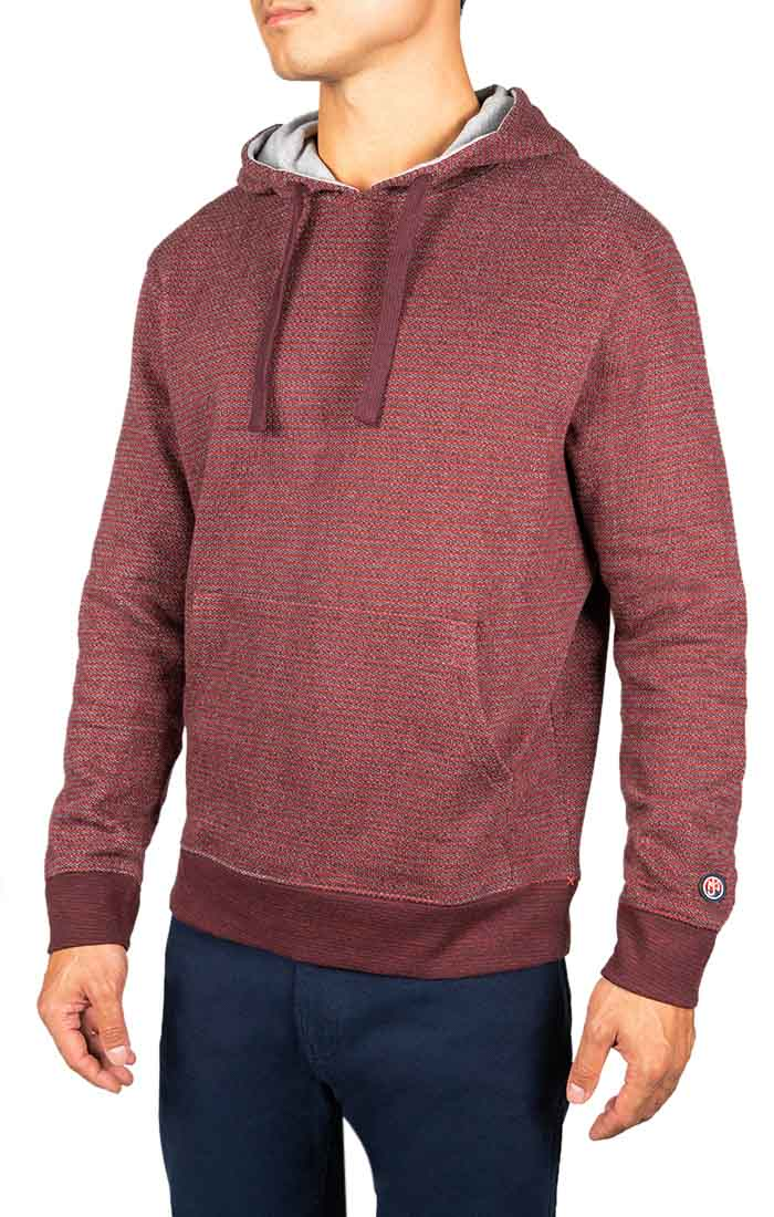 Burgundy Striped Fleece Pullover Hoodie