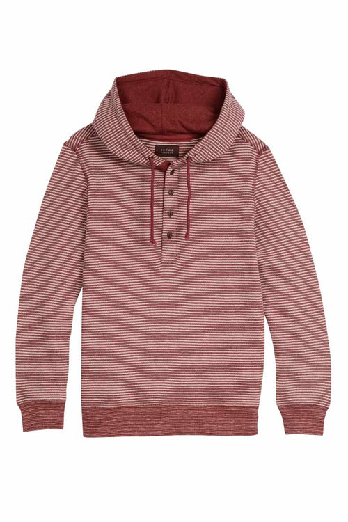 Red Striped Fleece Hooded Henley