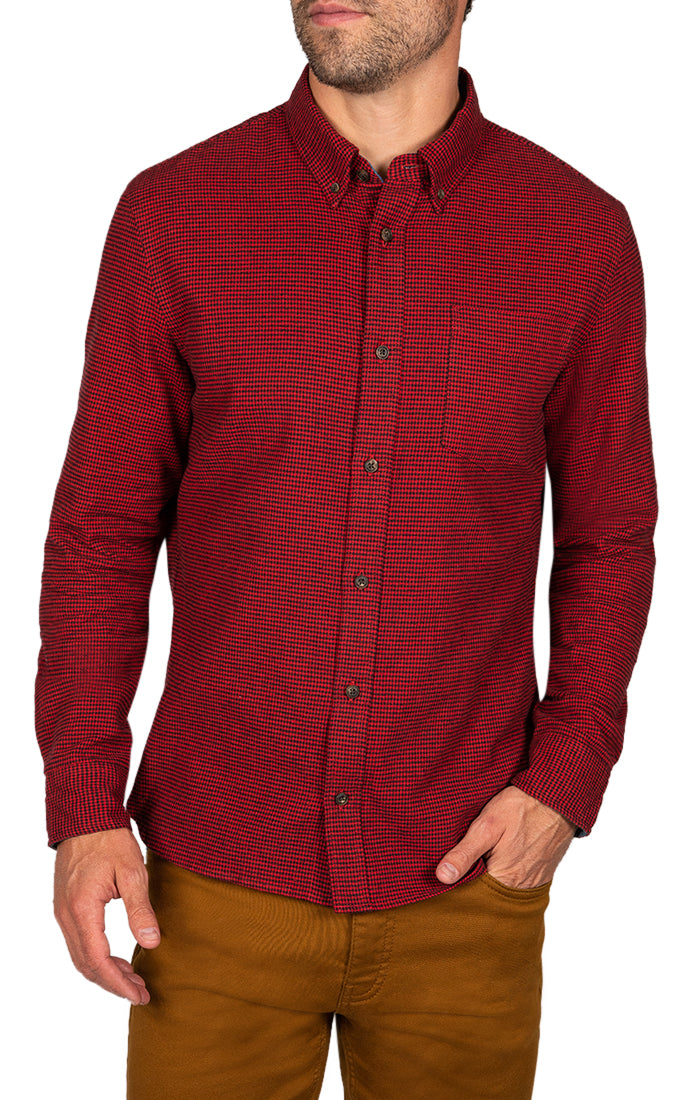 Red Houndstooth Flannel Shirt