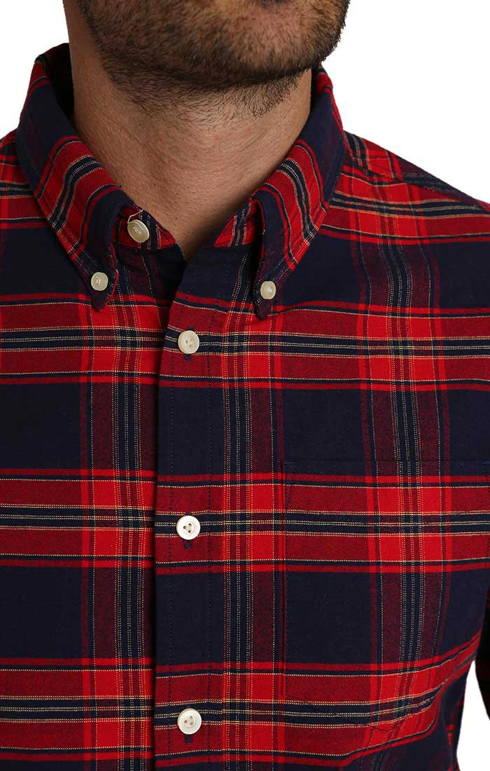 Red Plaid Brushed Oxford Shirt - jachs