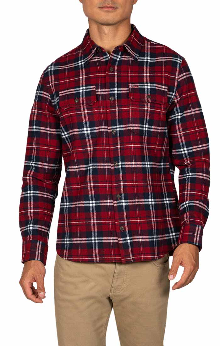Red and White Plaid Brawny Flannel Shirt