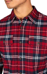 Red and White Plaid Brawny Flannel Shirt - JACHS NY