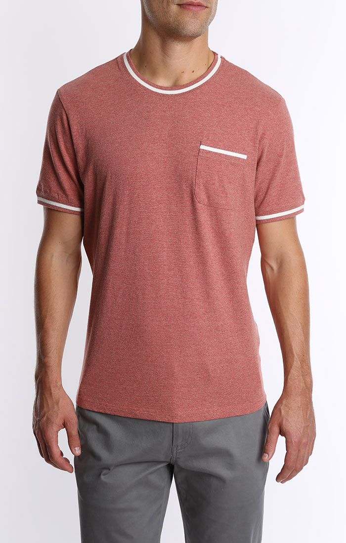 Red Cotton Linen Ringer Tee