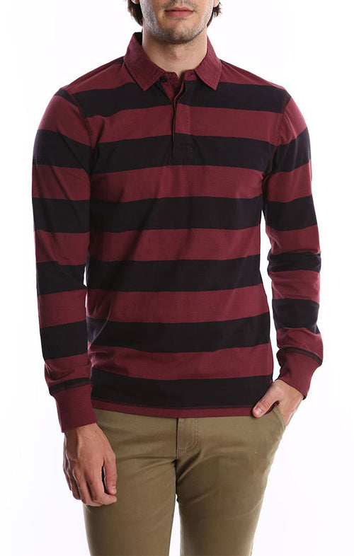 Burgundy Long Sleeve Stretch Rugby Polo