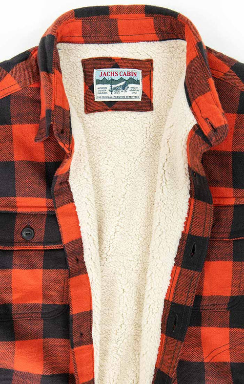 Red Sherpa Lined Flannel Shirt Jacket - jachs