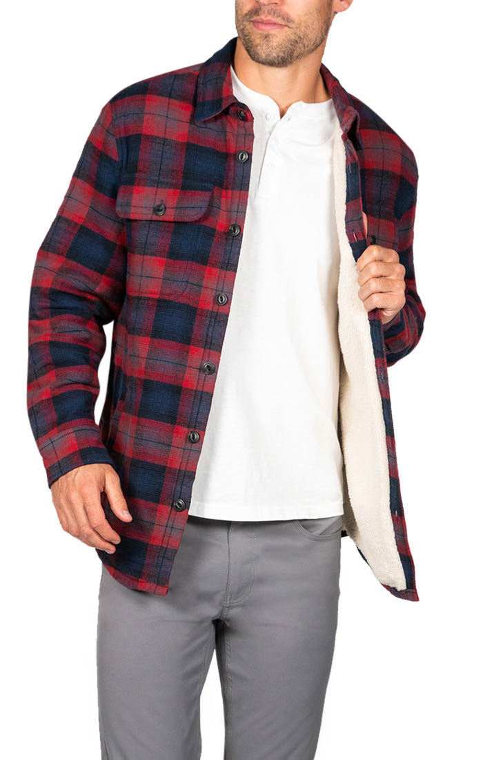 Burgundy Sherpa Flannel Shirt Jacket