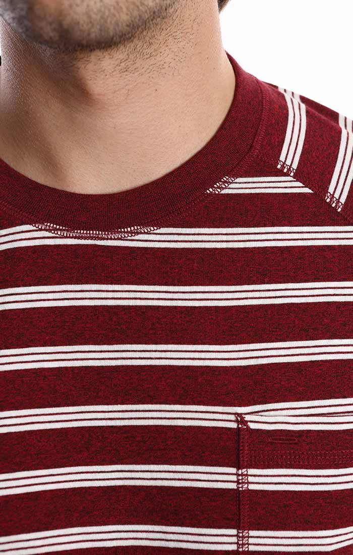 Burgundy Jaspe Striped Raglan Crewneck