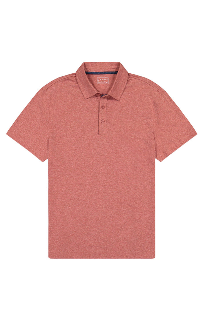 Red Heathered Linen TriBlend Polo - jachs