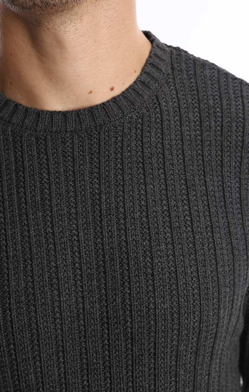 Charcoal Ribbed Crewneck Sweater - jachs