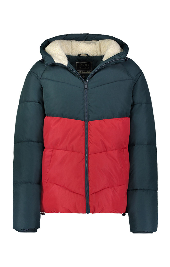 Red and Grey Sherpa Lined Puffer Jacket