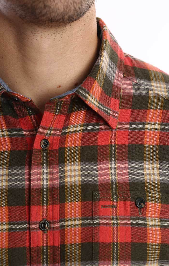 Red and Green Plaid Flannel Shirt