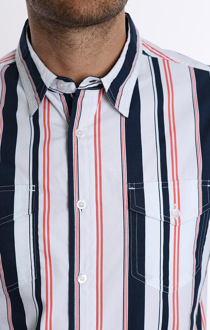 Navy and Red Stripe Short Sleeve Shirt - jachs